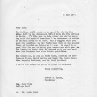 [Letter from Robert Cross to Judy Feiy, 05/11/1971]