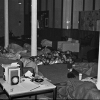 Nighttime in the Admissions Office during January 1969 sit in.