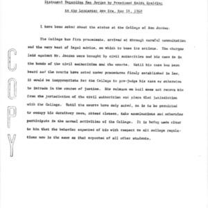 Statement Regarding Sam Jordan by President Keith Spalding