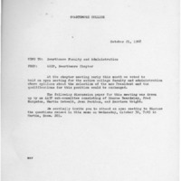[Memorandum from Swarthmore AAUP 10/21/1968 re hiring next president]