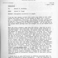 Memo- Cross to Browning re Disruptive activities on campus, 3 April 19970.pdf