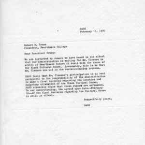 [Letter from SASS to Robert Cross 02/11/1970]