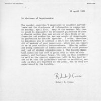 [Letter from Robert Cross to chairmen of departments 04/03/1971]