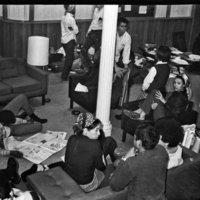 Typical scene inside the Admissions Office during the 1969 sit-in (Karen Johnson Guilmartin is on the right)