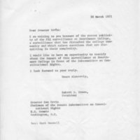 [Letter from Robert Cross to Senator Ervin 03/30/1971]