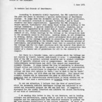[Letter from Robert Cross to the College Community, 06/01/1971]