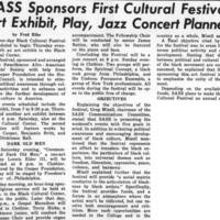 SASS Sponsors First Cultural Festival; Art Exhibit, Play, Jazz Concert Planned