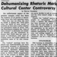 Dehumanizing Rhetoric Marks Cultural Center Controversy