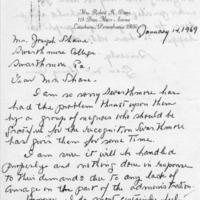 [Letter from Grace Dunn '28 to Joseph Shane, 01/14/1969]