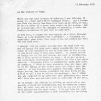 [Letter from Robert Cross to SASS 02/13/1970]