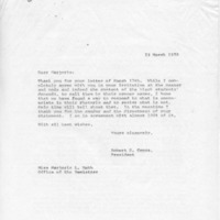 [Correspondence between Robert Cross and Marjorie Webb, 03/23/1970]