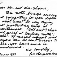 [Letter from Lois and William Murray to Joseph Shane, 02/03/1969]