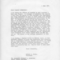 [Letter from Robert Cross to Senator Schweiker, 06/01/1971]