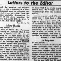 Letters to the Editor: Under the Table