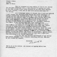 [Letter from Pusey Bancroft Heald '18 to Joseph Shane, 01/20/1969]