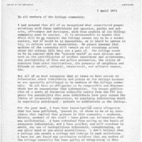 [Letter from Robert Cross to the College Community, 04/07/1971]