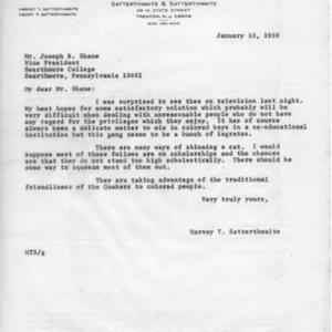 [Letter from Harry Satterthwaite to Joseph Shane, 01/10/1969]