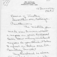 [Letter from Theresa Palmer to Board of Managers, 01/18/1969]