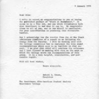 [Letter from Robert Cross to SASS, 01/09/1970]