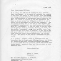 [Letter from Robert Cross to Congressman Williams 06/01/1971]