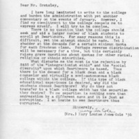 [Letter from Mary Lou Cole '56 to Edward Cratsley, 03/18/1969]