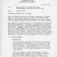 [Memorandum from Frederic Pryor regarding Proposal for a hearing, 04/30/1971]