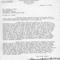 [Letter from Harry Satterthwaite '07 to Joseph Shane, 01/17/1969]