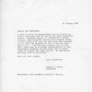 [Letter from Robert Cross to SASS 01/15/1970]