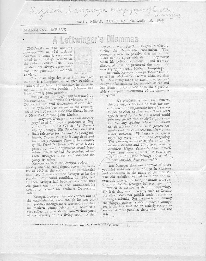 Brazil Herald, _A Leftwinger's Dilemmas,_ 10-15-68.jpg