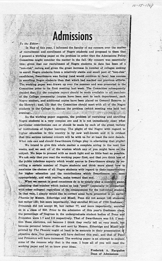Hargadon's Letter to the Phoenix, 15 October 1968.jpg