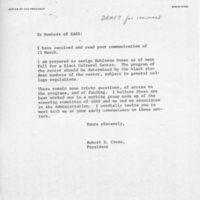 [Letter (draft) from Robert Cross to SASS 03/12/1970]