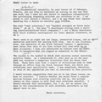 [Letter (draft, unsent) from Robert Cross to SASS 02/20/1970]