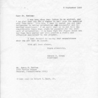 [Correspondence between Robert Cross, Robert Barr, James Batton, 09/09/1969]
