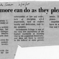 Delaware County Daily Times, _Swarthmore can do as they please_ 2-14-69.jpg