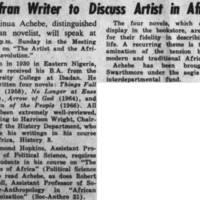 Biafran Writer to Discuss Artist in Africa