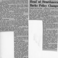 Philadelphia Inquirer, _Head of Swarthmore Backs Faculty Plan to Change Negro Policy,_ 1-14-69.jpg