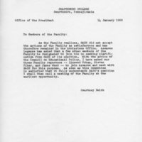 [Letter - Courtney Smith to Faculty, 01/14/1969]