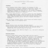 Curriculum Offerings in Black Studies 1968-1969