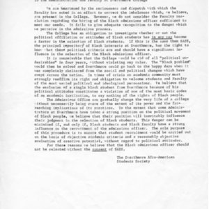 [Letter from SASS to administration and faculty, 01/1969]