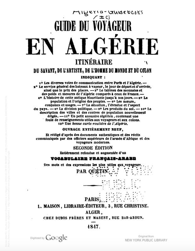 Guide du Voyageur Title Page