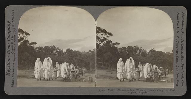 Veiled Mohammedan women promenading in park, Algiers, Algeria