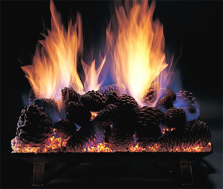 Pine Cones Vented Fireplace