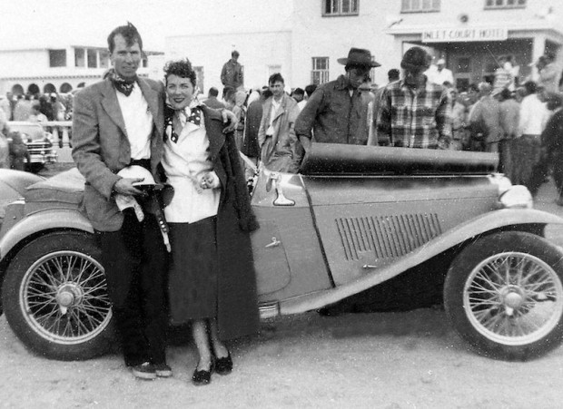 John's new girlfriend, Elizabeth Huntley, was also his pit crew. Fitch finished 4th overall and 3rd in class at Linden on August 21, 1949. After the race, John asked her to marry him.