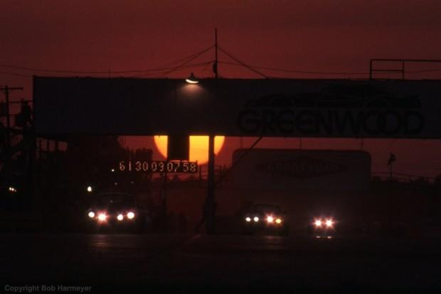 Sebring raceway sunset photo, 1977 12 Hours