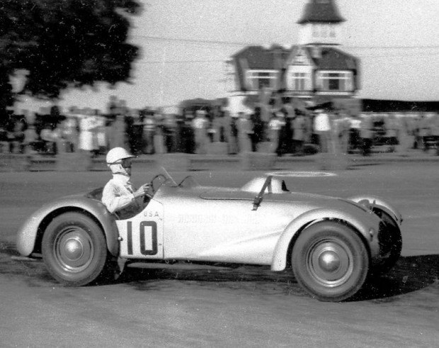 On March 11, 1951, Argentine dictator Juan Peron hosted a sports car race in Buenos Aires. John borrowed a Cadillac-Allard J2X from his friend, Tom Cole. Fitch ended up finishing first overall. It's traditional for the race winner to receive a kiss from the race queen. In this case, she was also the queen of the country, Evita Peron.