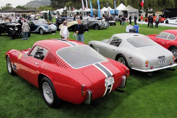 Left: 1956 Ferrari 250 GT Tour de France - Jon Masterson.  Silver: 1962 Ferrari 250 SWB - Ron Hein.  Photo William Edgar