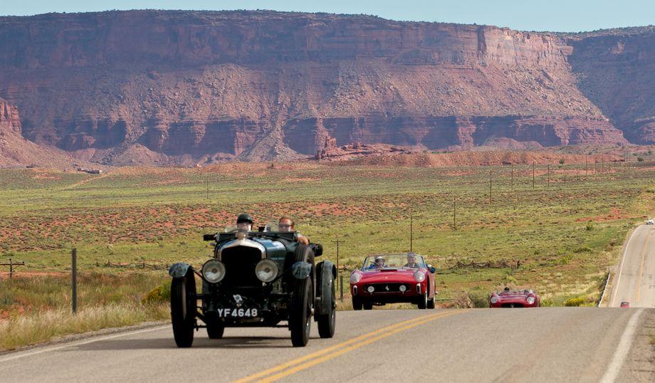 1927 Bentley 6.5 Liter, followed by 1957 Ferrari 250GT Pinin Farina Series I Cabriolet and 1955 Maserati 300S