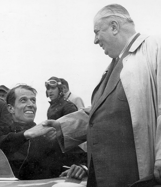 Alfred Neubauer congratulated John for finishing in fourth place, but was later disqualified for stopping off the road for a repair. The new 300 SLs were first with Karl Kling and second with Hermann Lang. Luigi Chinetti was third in a Ferrari 340 Mexico Berlinetta.