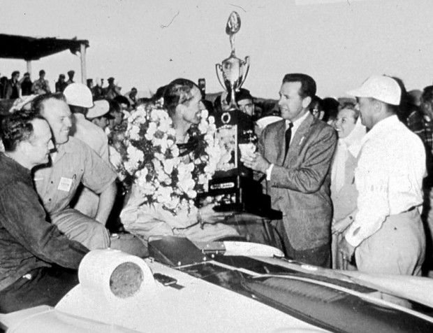 John's final race for 1953 was at March AFB near Riverside in Southern California. He was first overall in Brigg's Cunningham C4R, clinching his second SCCA National Championship. He was congratulated by a number of Hollywood glitterati. I was there shooting with my trusty Rolleiflex and met John for the first time.