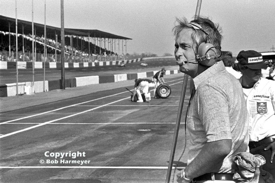Roger Penske in the pit lane at Darlington Raceway during the Rebel 500 NASCAR race in 1976.